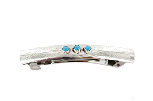 Sleeping Beauty Stabilized Turquoise - $200Tag Silver Certified Navajo Natural Turquoise Native Hair Barrette 10346-4 Made by Loma Siiva