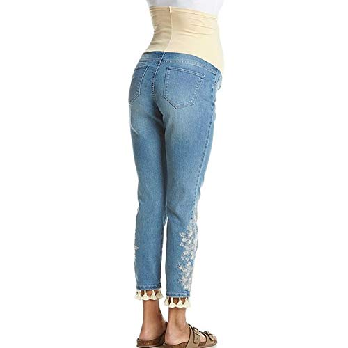 afab94c90eead Flutter & Kick Maternity Ladies Full Panel Skinny Ankle Embroidered Jeans,  12 at Amazon Women's Clothing store: