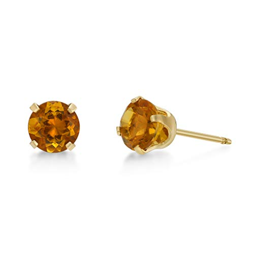 (.80 CT Round 5MM Yellow Citrine 14K Yellow Gold Stud Birthstone Earrings)