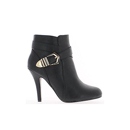 Mujeres negras botas de tacón de 10cm lazo y al final