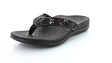 5a9638746659 Vionic Women s Tide Sequins Toe-Post Sandal Black 6M