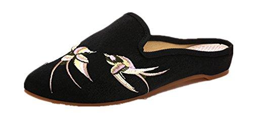 Women Shoes and Flats Sandals Ladies Flower Ballet Tianrui Embroidery Black Crown SxwBq4E5g