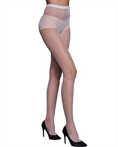 - CHRLEISURE Women's Sparkle Rhinestone Fishnets Sexy Tights High Waist Stockings White