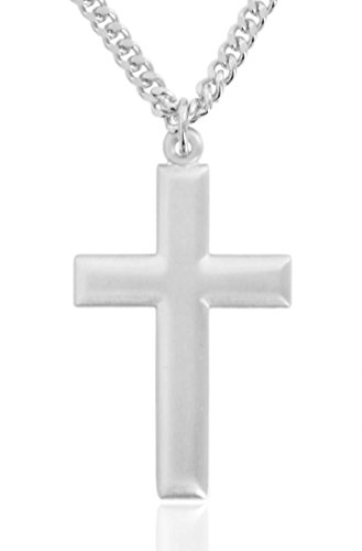 Heartland Store Men's Pure Sterling Silver Beveled Cross Pendant + 24 Inch Rhodium Plated Chain & Clasp
