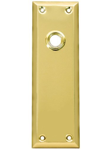 Stamped Brass New York Door Plate Without Keyhole in Polished Brass ()