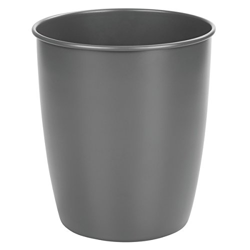 mDesign Round Metal Small Trash Can Wastebasket, Garbage Container Bin for Bathrooms, Powder Rooms, Kitchens, Home Offices - Durable Steel in Matte Slate Finish by mDesign
