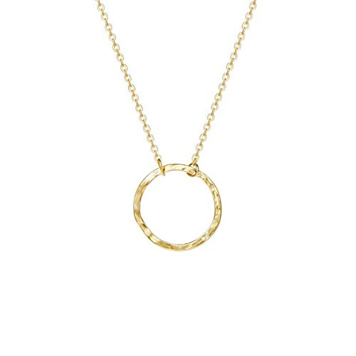 Befettly Womens Karma Necklace 14K Gold Fill Dainty Round Pendant Necklace-Round