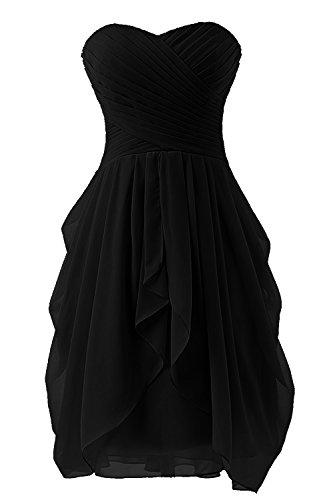 Bbonlinedress Vestidos de Fiesta de Boda Cortos de Gasa Sin Tirantes Negro
