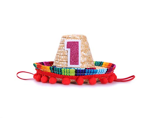 Mini Sombrero Hats for 1st Birthday - Fiesta Cupcake Toppers for Mexican Party Decorations, First Birthday Hat for Uno Party, Fiesta Party Supplies (Fiesta Cupcake -