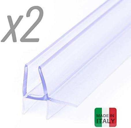 Iegar - 2 piezas - Junta de 100 cm transparente para bajo la puerta - Perfil de doble aleta - Repuesto para mampara de ducha de cristal con puerta batiente o deslizante