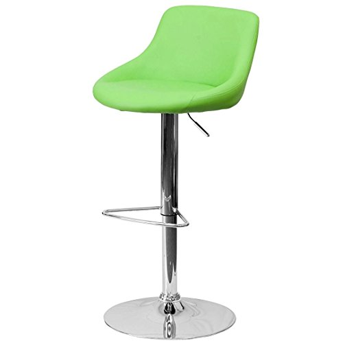 - KLS14 Modern Design Bar Stool Bucket Seat Design Hydraulic Adjustable Height 360-Degree Swivel Seat Sturdy Steel Frame Chrome Base Dining Chair Bar Pub Stool Home Office Furniture - (1) Green #1985