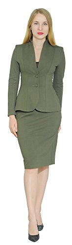Marycrafts Women's Formal Office Business Work Jacket Skirt Suit Set 8 Olive - Work Set