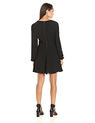 PARIS SUNDAY Women's Blouson Sleeve V Neck Fit and Flare Dress