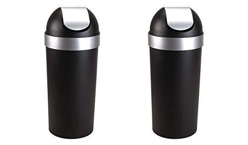 Umbra Nickel Trash Can (Umbra Venti 16-Gallon Swing Top Kitchen Trash Can – Large, 35-inch Tall Garbage Can for Indoor, Outdoor or Commercial Use, Black/Nickel (2 PACK))
