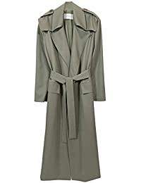 Tailored Lined Wool Gabardine Trench Coat, Pale Sage