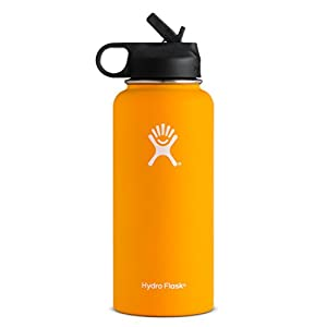 Hydro Flask Vacuum Insulated Stainless Steel Water Bottle Wide Mouth with Straw Lid (Mango, 40-Ounce)