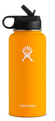 Hydro Flask Vacuum Insulated Stainless Steel Water Bottle Wide Mouth with Straw Lid (Mango, 32-Ounce)
