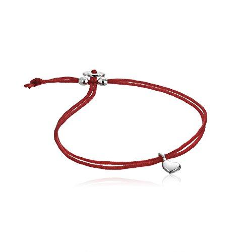 Alex Woo Mini Cord Bracelet Red with Sterling Silver Mini Heart Bracelet by Alex Woo