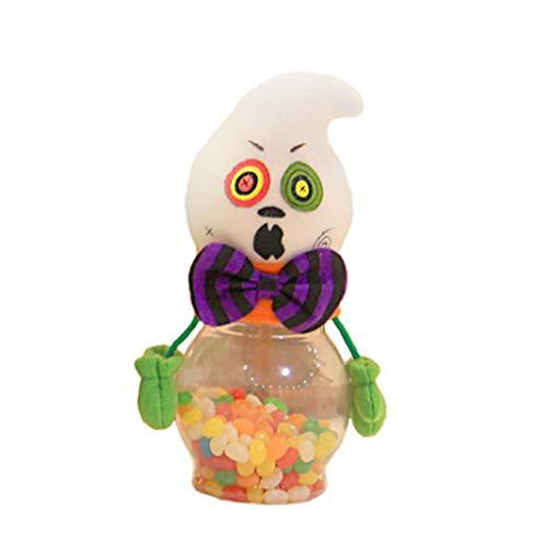 (cici store Happy Halloween Candy Jar,Transparent Cartoon Bottle Case Storage for Children Gift Party Decor)