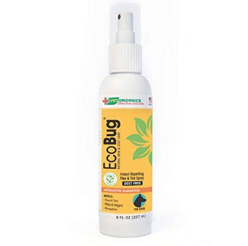 Vet Organics EcoBug All-Natural Aromatic Spray for Dogs - The Naturally-Based Aromatic Formula That Fleas and Ticks Hate! 8 oz.