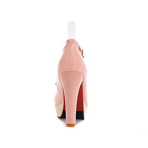 BalaMasa Girls tempestato di strass fibbie metalliche colori assortiti in vernice pumps-shoes, Rosa (Pink), 38 EU
