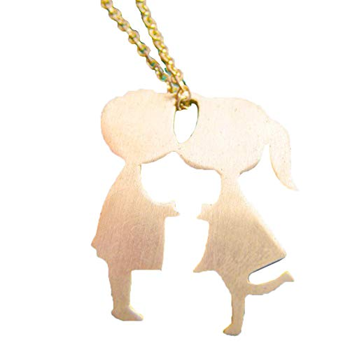 Braceus Romantic Kissing Boy Girl Pendant Necklace Lover Jewelry Pendant Necklace Key Chain Monogram Necklace for Women Gift Personalized Jewelry Gift for Women Golden