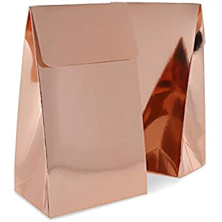 Rose Gold Foil Party Favor Bags (3.75 x 6.5 x 2.5 Inches, 24 Pack)