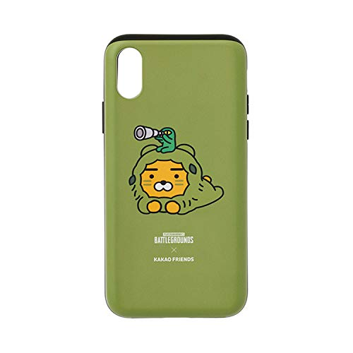 KAKAO FRIENDS Official- Battle Grounds Ryan Phone Case Compatible with iPhone with Card Holder Slot, Stand, Mirror (Ghillie Suit, X/XS)