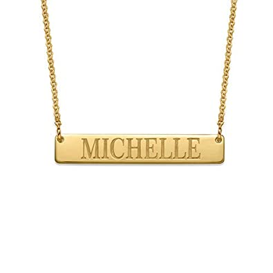 HACOOL 925 Sterling Silver Custom Engraved Name Bar Necklace