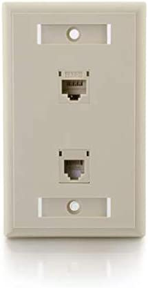 Ivory C2G 27419 Cat5e RJ45 with Cat3 RJ12 Configured Single Gang Wall Plate