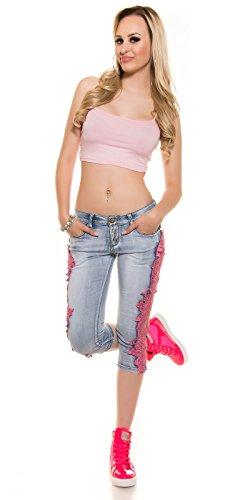 PuSH UP Capri Jeans mit Spitze, pink