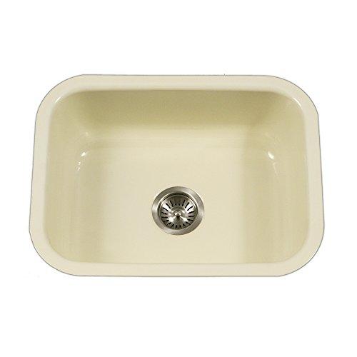 Sink Undermount Biscuit (Houzer PCS-2500 BQ Porcela Series Porcelain Enamel Steel Undermount Single Bowl Kitchen Sink, Biscuit)