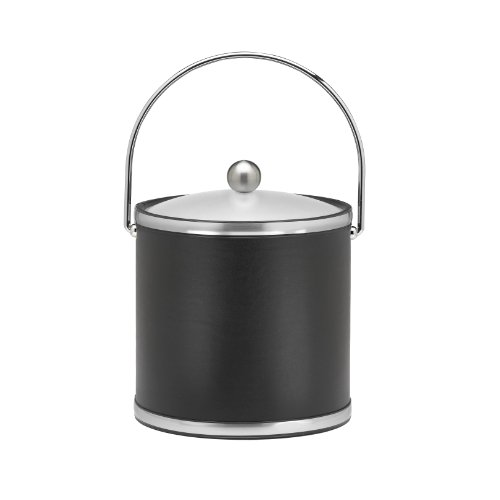 Kraftware Brushed Chrome Ice Bucket with Bale Handle and Metal Cover, Black - 3 (Leather Ice Bucket)