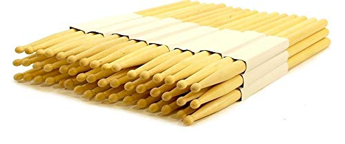 - 24 PAIRS - 5B WOOD TIP NATURAL MAPLE DRUMSTICKS PRO 48 DRUM STICKS NEW