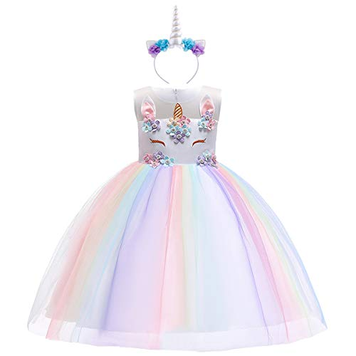 Baby Girls Flower Unicorn Fairy Costume Princess Rainbow Dress up Birthday Pageant Party Wedding Dance Outfits Short Gown S# White+Rainbow(2pcs) 9-10 -