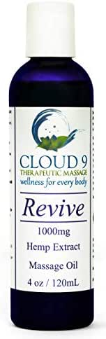 Cloud 9 Massage-Pain Relieving Full Spectrum Hemp Extract Massage Oil For Back Pain Relief-Arthritis-Plantar Fasciitis-Fibromyalgia-Headaches and Migraines-4 0z Bottle-1000mg.