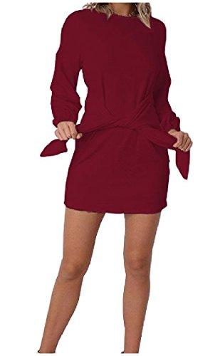 Coolred-femmes Sangles Manches Bishop Baggy Printemps / Automne Robes De Vin Rouge À Manches Longues