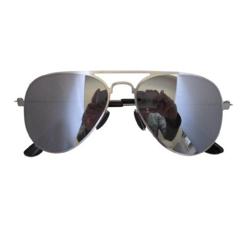 Eyekepper Stainless Steel Frame Silver Mirror Lens Pilot Kids Children Sunglasses Silver Frame