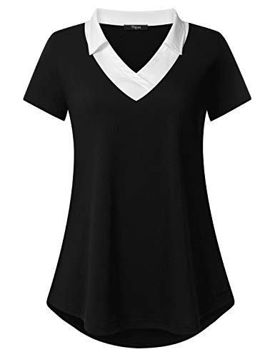 (Ckuvysq Tunic Shirt,Womens Blouses and Tops for Work Short Sleeve V Neck Career Fashion A-Line Knit Stretch Point Collar Comfortable Dressy Top Black XX-Large)