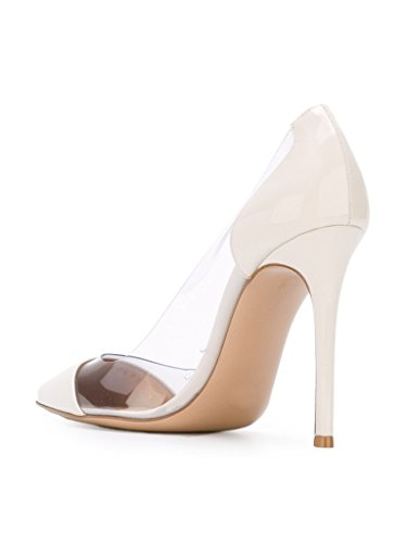 Transparent Event 10cm Toe patent Tallone Stilettos Cap Heel Centimetri Womens Stiletti Trasparente Pvc Pumps Eldof Puntale Abito Shoes Wedding Dress Pointed Aguzza Alto 10 Eldof White Scarpe Brevetto Eventi High Pvc Bianco Womens 861ZU