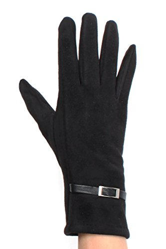 LL Womens Touchscreen Gloves Black Faux Suede Leatherette Buckle Trim (Faux Suede Buckle)