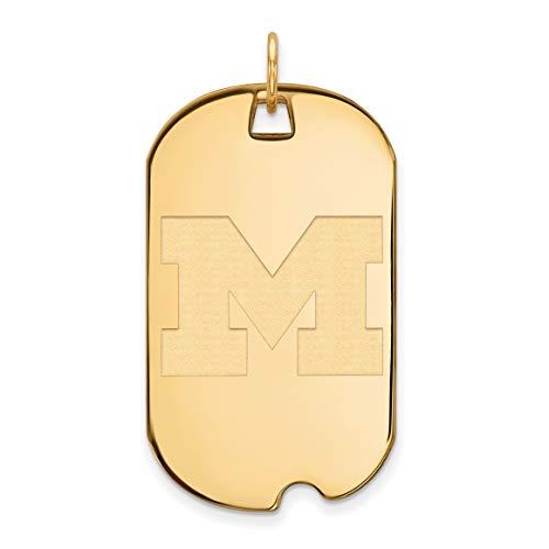 14k Yellow Gold Michigan Wolverines School Letter Logo Dog Tag Pendant 40x24mm