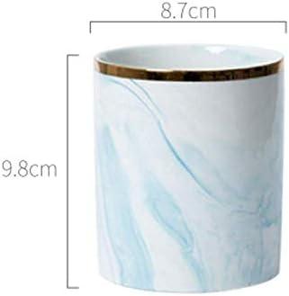 ペンバレルは、セラミック表ペンホルダーマーブル柄のペンバレル表ストレージボックスメイクブラシは、5色のオプション9.8 X 8.7センチメートルブルーラック Soul hill (Color : Blue)