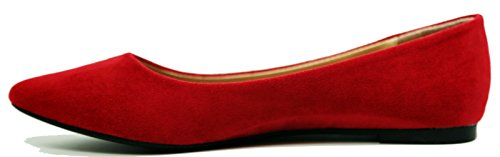Point Comfortable Red Women's Suede Walstar Flat Toe Shoes Pumps 0BEdw15x