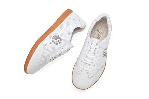 icnbuys Herren atmungsaktiv Leder Kung Fu Tai Chi Schuhe für Sommer Weiß
