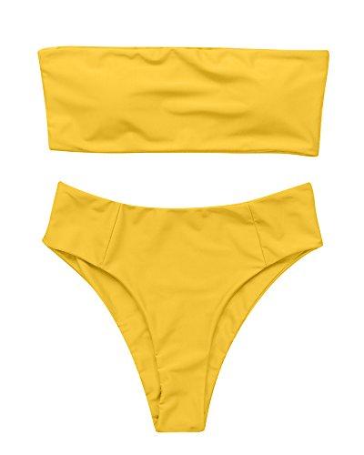 OMKAGI Women's 2 Pieces Bandeau Bikini Swimsuits Off Shoulder High Waist Bathing Suit High Cut(XL,Yellow) ()