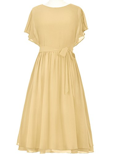 Buy gold tea length mother of the bride dress - 9
