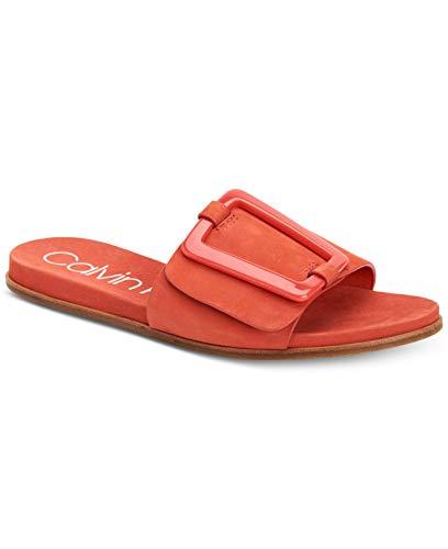 Calvin Klein Womens Patreece Leather Open Toe Casual Slide, Deep Blush, Size 7.5
