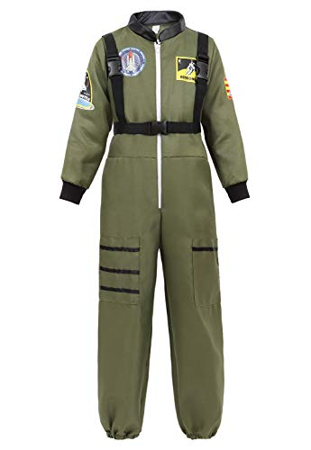 Halloween Astronaut Costume for Kids Role Play Child NASA Flight Jumpsuit Costumes ArmyGreen XL -