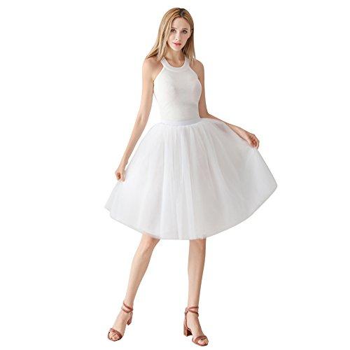 ShowYeu Femmes A-Ligne 60 CM Tutu Tulle Jupon Robe de Fte Mi-Mollet Vintage Demoiselles Party Dress Balle De Bal Blanc